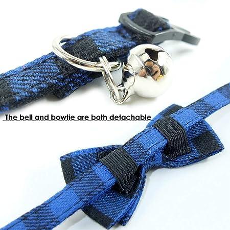 YCZ Cuello de Gato Escape con Linda Pajarita y Campana para Gatito y Algunos Cachorros Ajustable de 7,8 a 10,5 Pulgadas Rosa + Azul 2 Paquetes