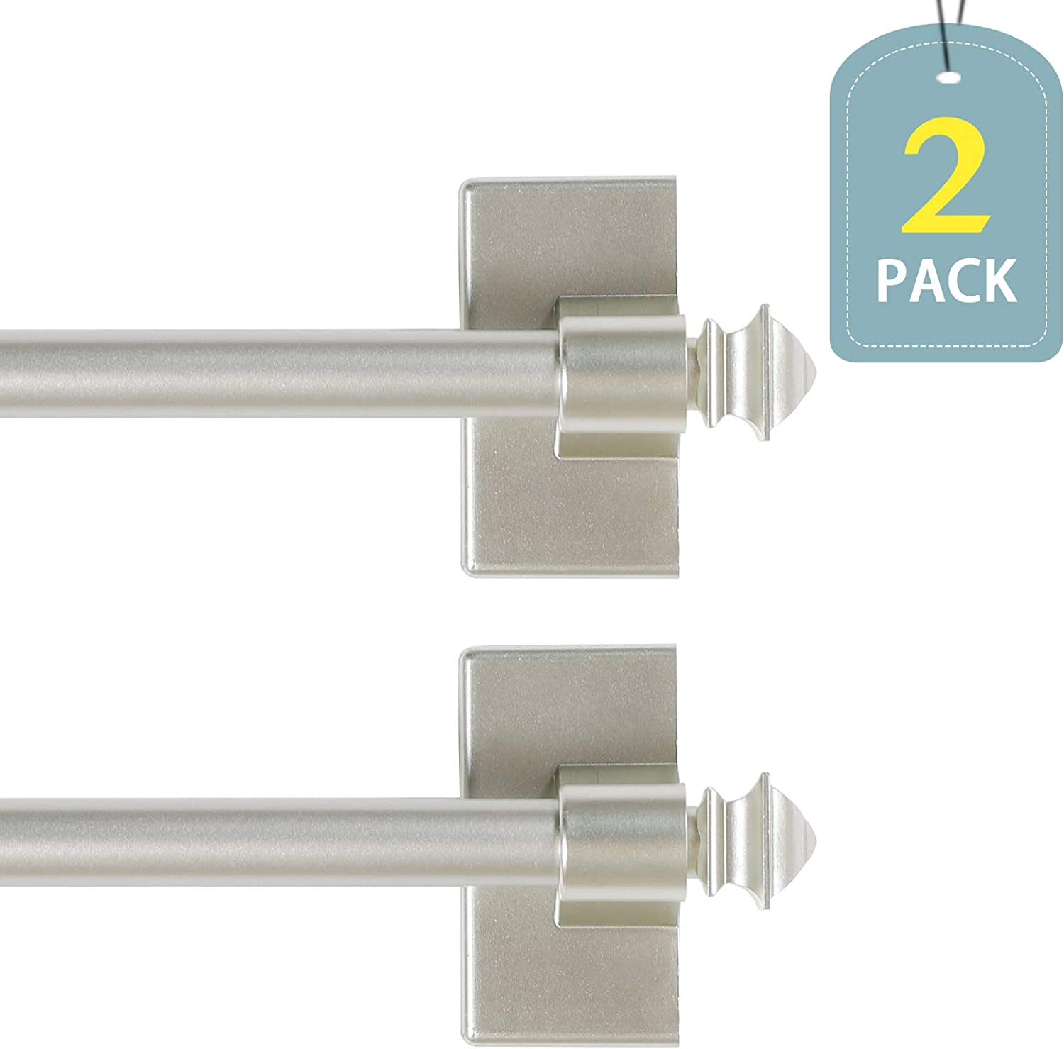 "H.VERSAILTEX Magnetic Curtain Rods Adjustable Length from 16-28 Inch with Square Ends for Small Windows, 1/2"" Diameter, Nickel, 2 Packs"