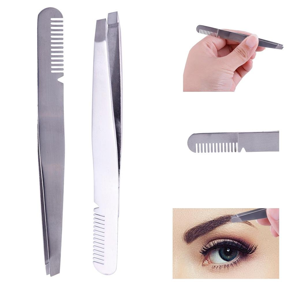 JaneDream 1pcs 2 in 1 Silver Women Stainless Steel Eyebrow Tweezer Eyelash Clip Hair Remover Tool with Comb JaneDream Owner