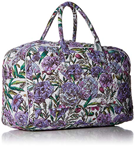 61p875oEHvL - Vera Bradley Iconic Compact Weekender Travel Bag, Signature Cotton, Lavender Meadow