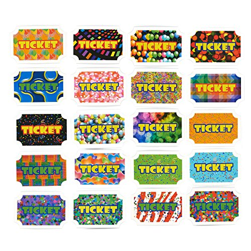 100-Pack Reward Tickets - Prize Tickets Incentive for Kids, Carnival Party Supplies, Assorted Colors, 4.75 x 4 x 2 Inches -