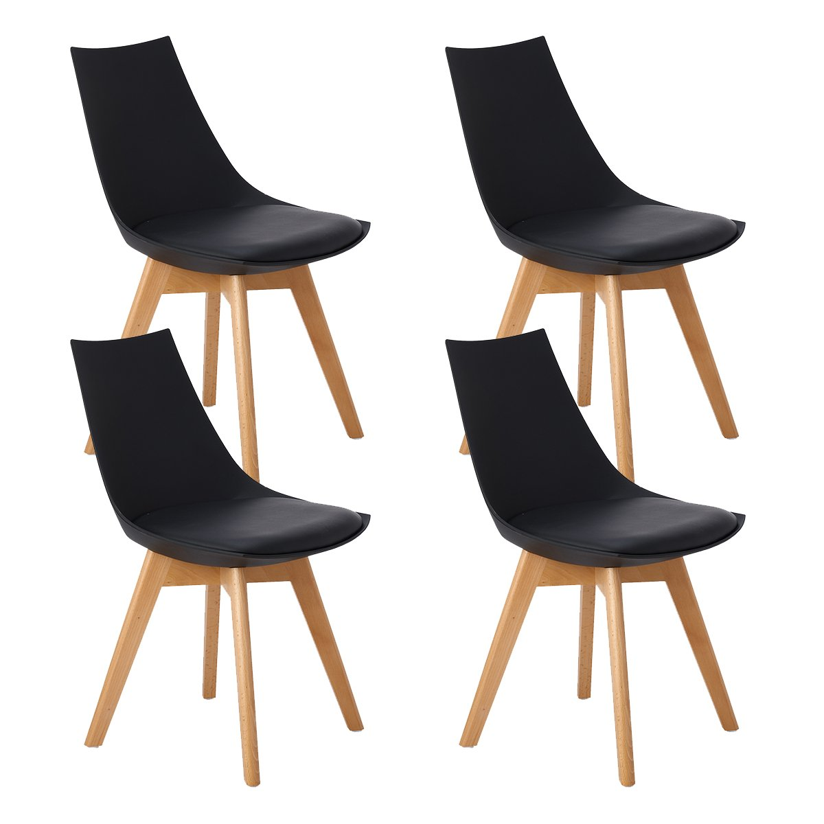 DORAFAIR Set of 2 Mordern Design Scandinavian Dining Chairs with Padded and Solid Wood Beech Legs,Retro Design Black