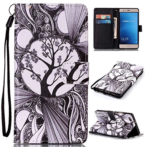 P9 lite Case, Huawei P9 Lite Case, Easytop PU Leather Flip Folio Stand Book Style Wallet with Hand/Wrist Strap Built-in Card Slots Magnetic Closure (Black White Tree)]()
