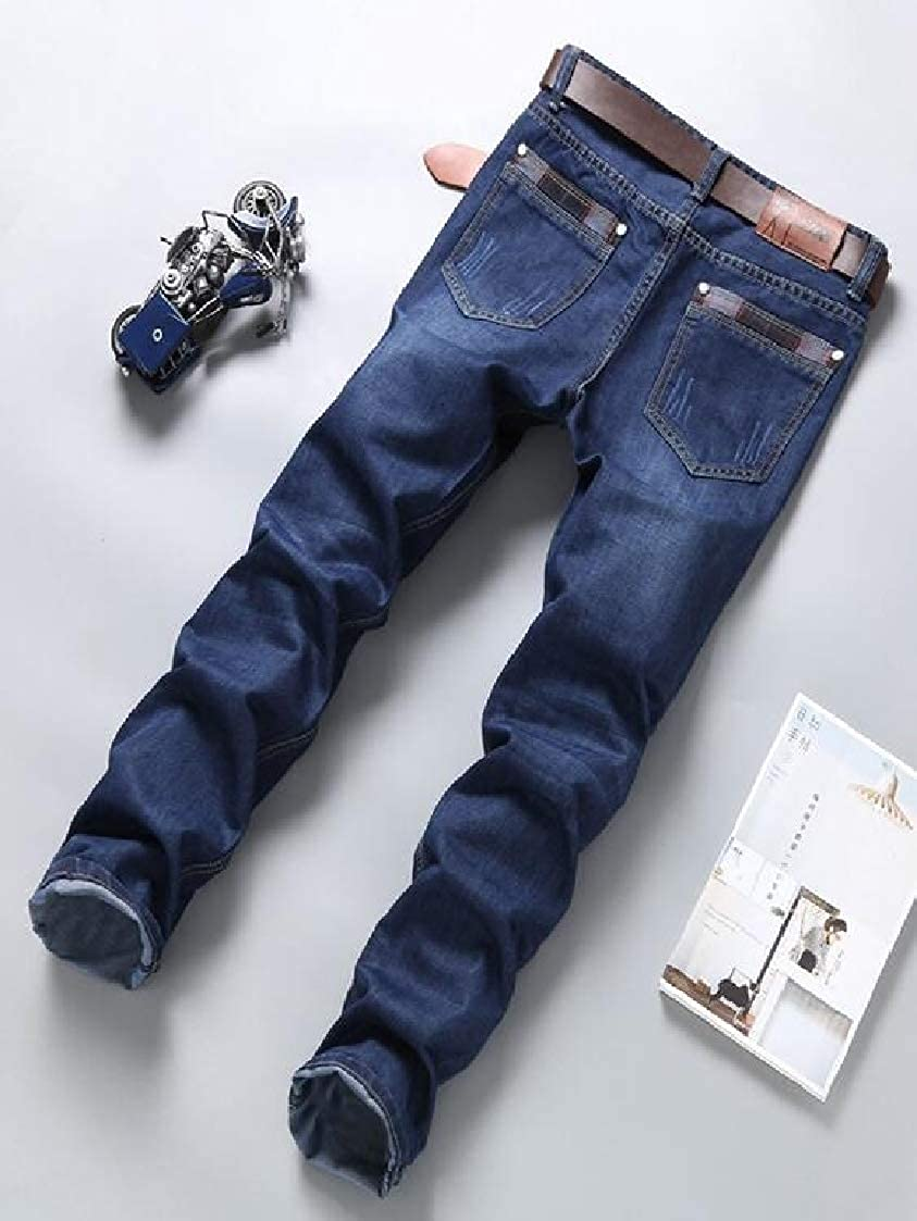 Men Straight Leg Basic Classic Fit Relaxed Fit Denim Jeans