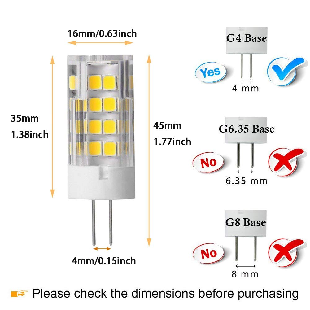 6 Pack T3 JC Type Bi-Pin G4 Base Not-Dimmable AC//DC 12 Volt Warm White 3000K G4 LED Bulb 5W Equivalent to 40W G4 Halogen Bulb
