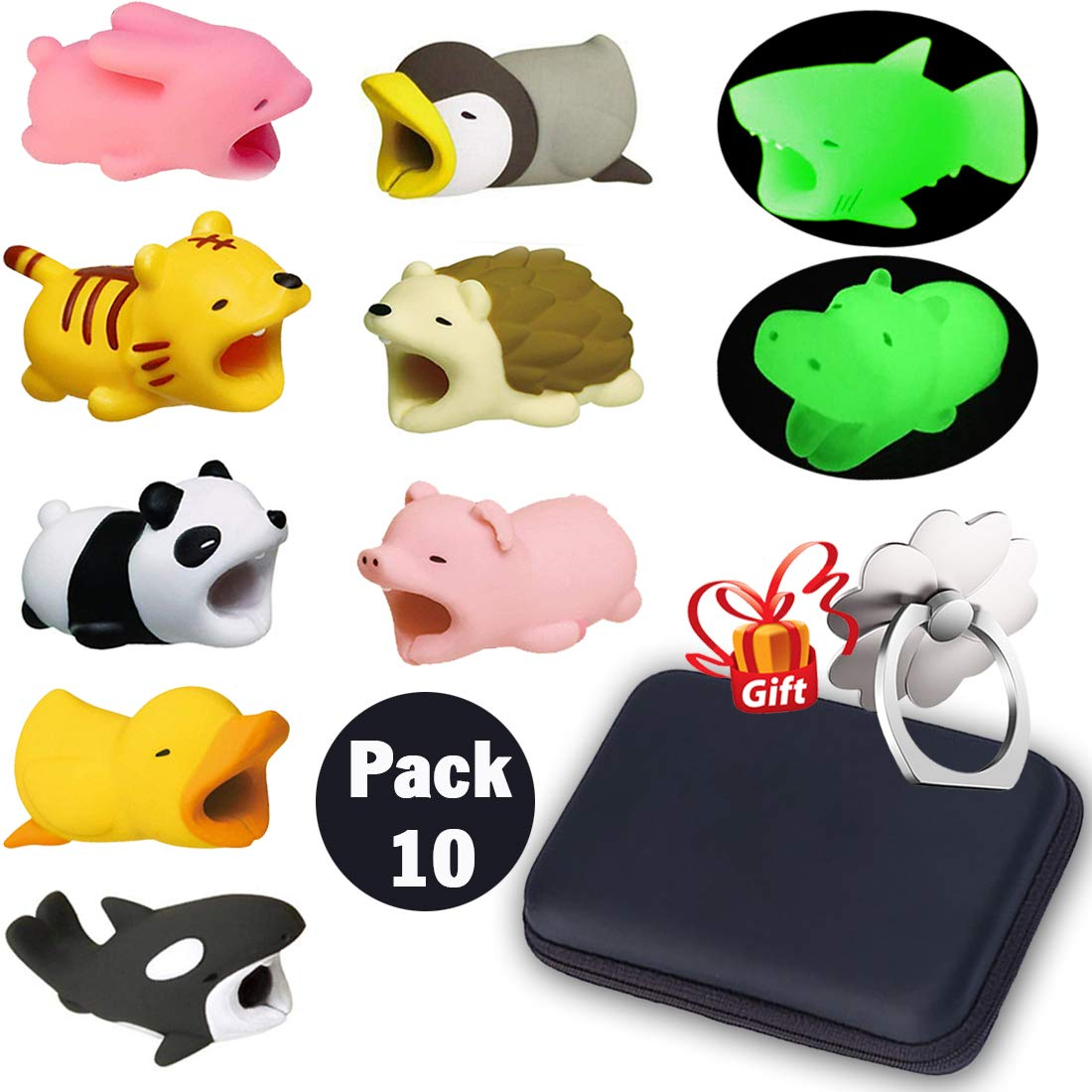 Animal Buddies Phone Cord Bites, Cute Animals Bite Cable Protector for IPhone, Cell Phone Accessories & Bites Data Line (10 Pieces with 2 Glowing Style) Bonus: Mobile Storage Box & Cell Phone Holder ZONLEGEND