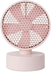 Coolean 8 inch Honeycomb Oscillating Desk Fan Pink USB 3900mAh battery operated table fan with 4 speeds Quiet Operation Small Portable Personal Fan for Home Bedside Dorm Office Desktop Outdoor Camping Travel