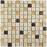 SomerTile GITCAGL Abbey Glouster Glass and Stone Mosaic Wall Tile, 12'' x 12'', Beige/Tan/Cream/Bronze/Metallic
