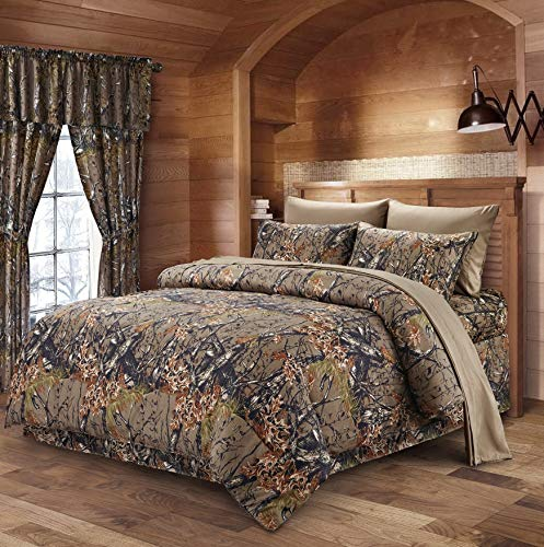 Hemau The Woods Natural Green Camouflage Queen 8pc Premium Comforter, Sheet, Pillowcases, and Bed Skirt Set Camo Bedding Set for Hunters Cabin or Rustic Lodge Teens Boys and Girls | Style 503193875