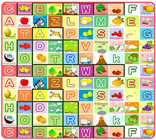 (Baby Infant Multifunctional Fruits Alphabet Letters Crawling Play Game Sport Climb Playmat Outdoor Picnic Blanket 180*120*0.5cm)