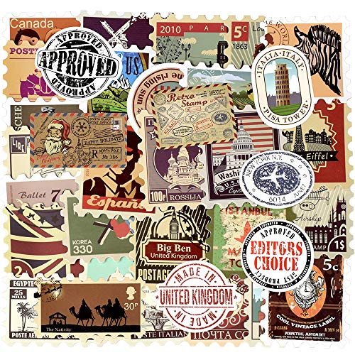 (Vintage Waterproof Vinyl Stickers for Laptop Luggage Scrapbook Postcard DIY(50Pcs Stamp Style))