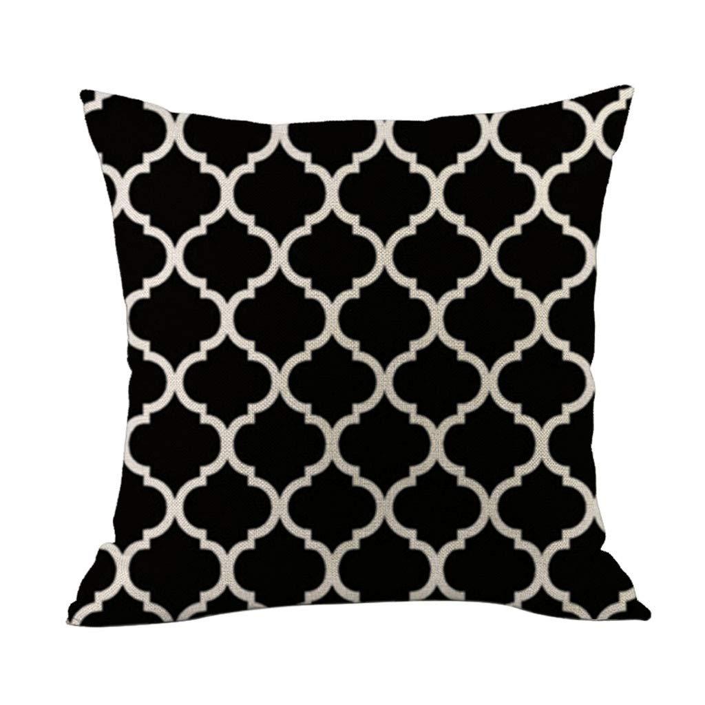 Funda Coj/ín 45x45 Negro Sofa Lino Simple Geometr/ía Square Funda de Almohada Decoraci/ón del Hogar Oficina Coche Lugar de Ocio Nueva A Sallydream