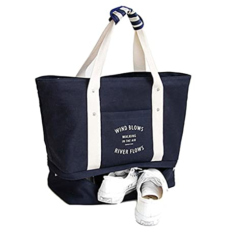 5f1580f52717 GossipBoy Portable Travel Weekende Bag Canvas Large-Size Handbag Carry-On  Shoulder Tote Duffel Bag Gym Bag with Shoes Storage Compartment