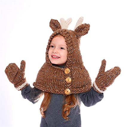 3da1cdea017 JennyShop Winter Kids Warm Elk Animal Hats Knitted Coif Hood Scarf Beanies  Autumn Winter (Brown