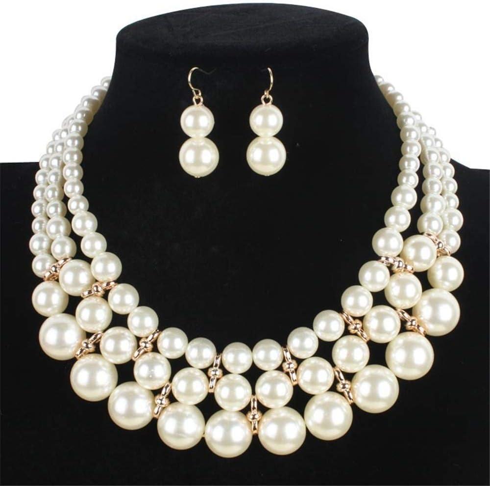 Collar colgante de las mujeres Faux de las mujeres de la perla blanca grande 3 capas Chunky collar y aretes conjunto Bib collar conjunto de accesorios de boda nupcial conjuntos de joyería Collar regal