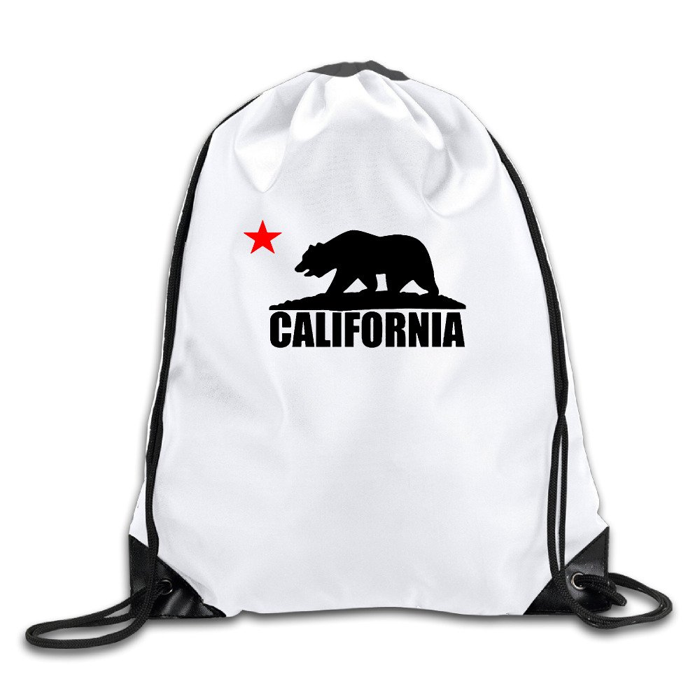 California Bear Cool Drawstring Backpack Drawstring Bag by NVOEE