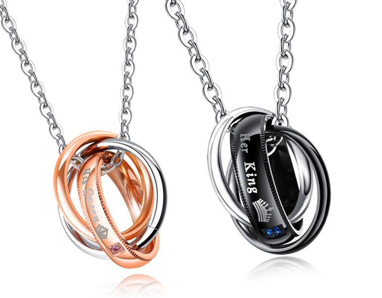 Feraco His Queen Her King Couples Necklace Set Engraved Crown Ring Pendants Stainless Steel Choker Necklaces