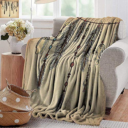 - PearlRolan Soft Cozy Throw Blanket,Tribal,Bohemian Ethnic Hair Accessories with Bird Feathers Beads on String Sketch Digital Print,Brown,Couch/Bed,Super Soft and Warm,Durable Throw Blanket 35