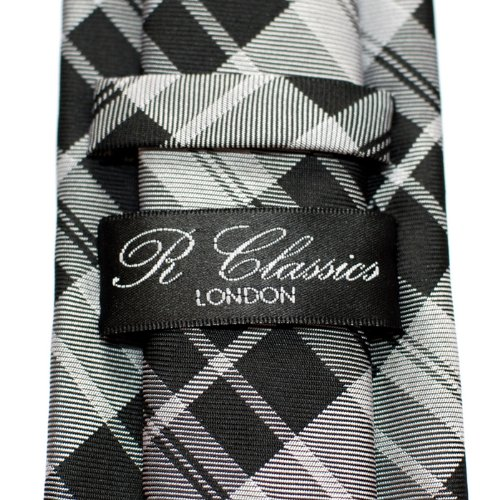 Modern and Tartan Colors Styles Black Microfiber Tie Men's Check Woven Grey Retreez Various dPFx5qwgnw