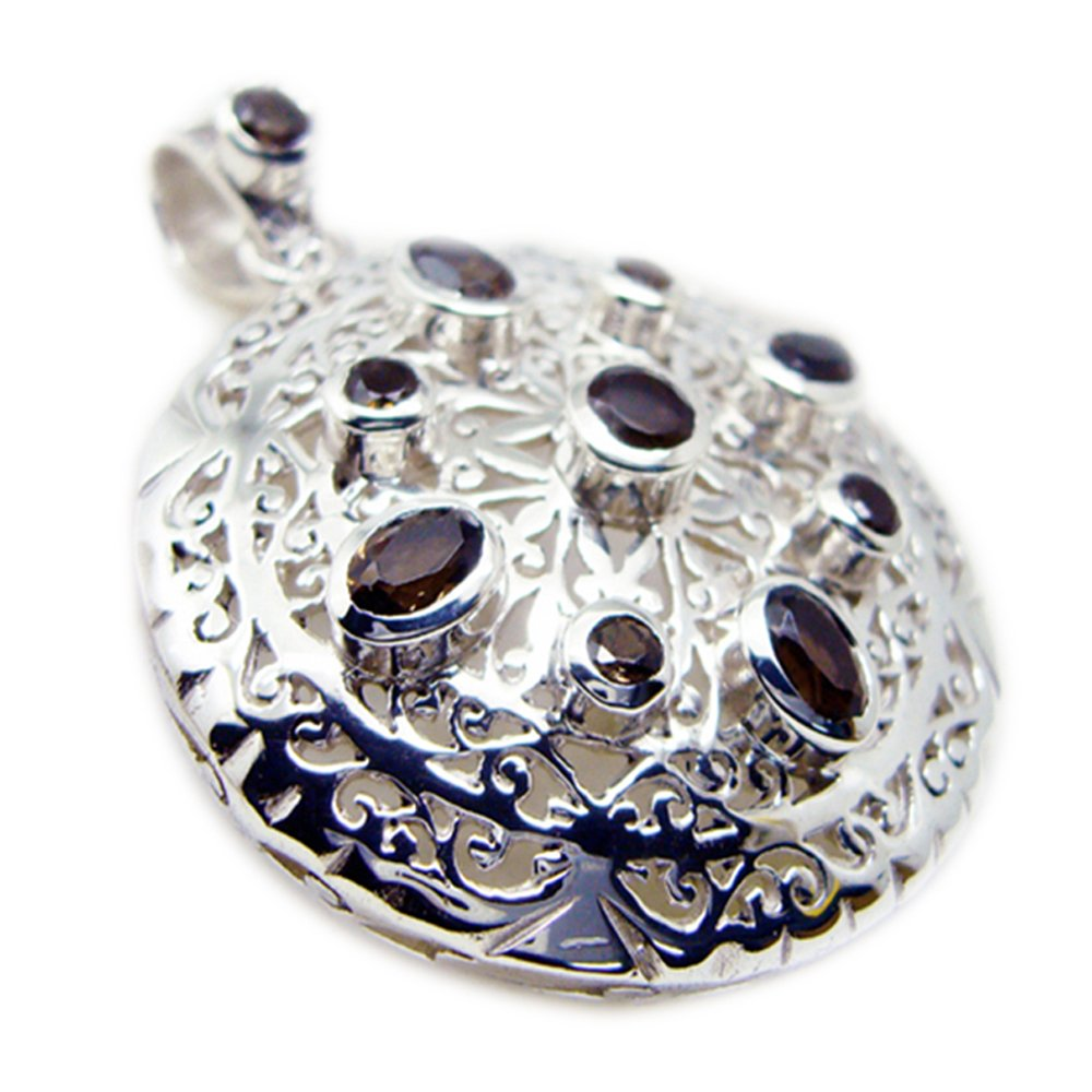 Jewelryonclick Genuine Smoky Quartz Silver for Women Pendant Charms Mixed Shape Necklace Handmade Vintage