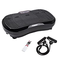 TIMMY Vibrationsplatte Vibrationsplattform Body Shaper Oszillationsplatte Ultra Slim Vibrationstrainer Massage Fitnessgerät, 99 Sstufen mit LCD-Display Fernbedienung, 150 kg Tragkraft Schwarz