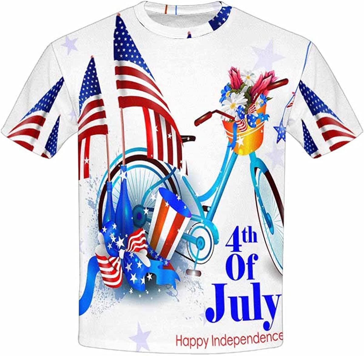 INTERESTPRINT 4th July Independence Day of America Youth T-Shirts XS-XL