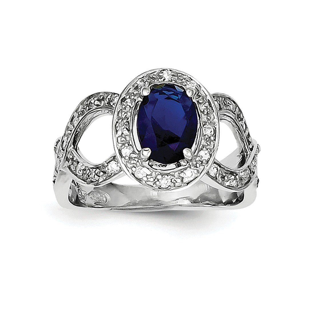 ICE CARATS 925 Sterling Silver Dark Blue Glass Cubic Zirconia Cz Band Ring Size 7.00 Fine Jewelry Ideal Gifts For Women Gift Set From Heart