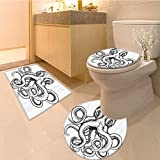 3 Piece large Contour Mat set An Illustration of An in A Dynamic Woodblock Style Monochromic Artwork Extralong Bro Bathroom Rugs Contour Mat Lid Toilet Cover