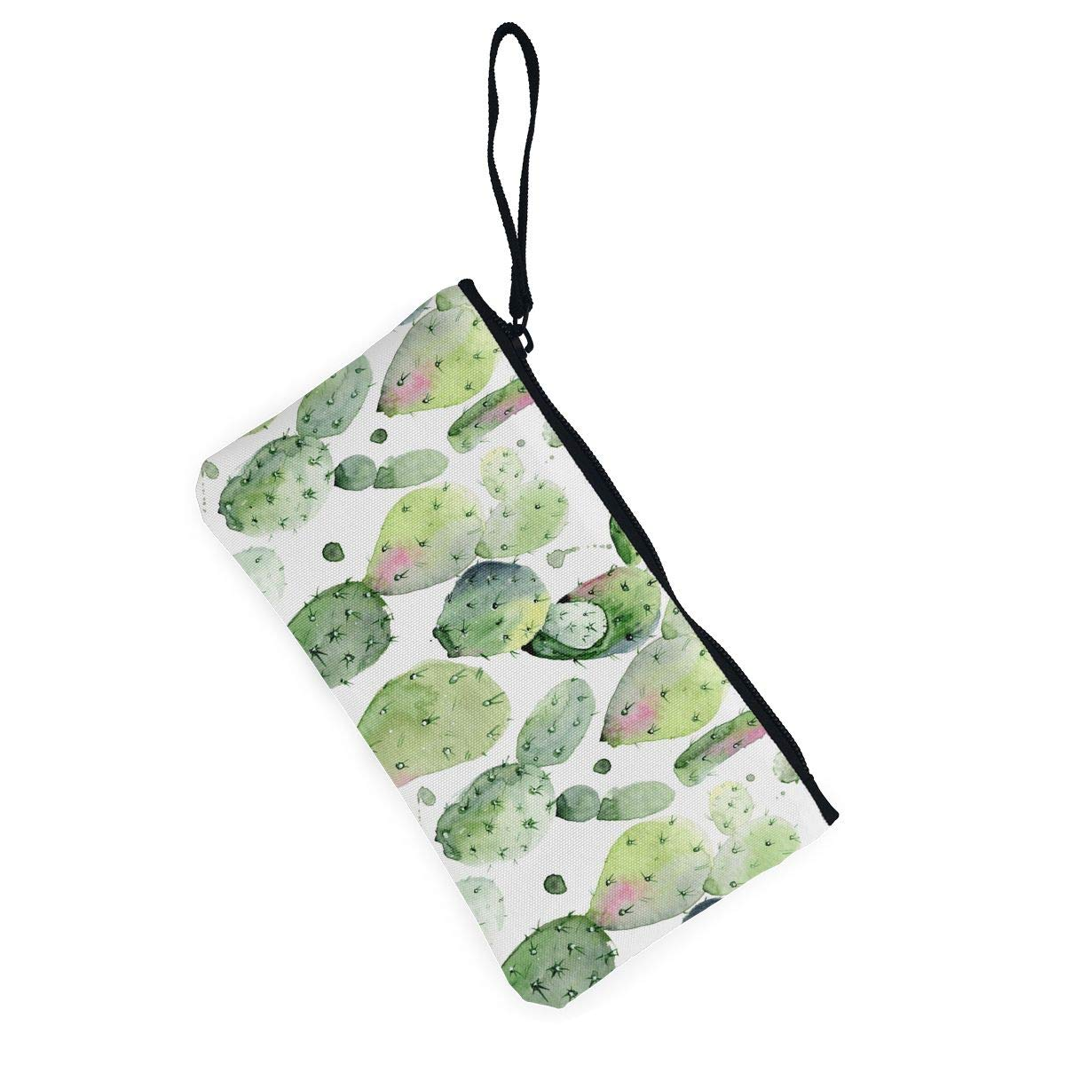 Watercolor Cactus Pattern Canvas Coin Purse Cute Change Pouch Money Cash Bag Multifunctional Cellphone Bag with Handle