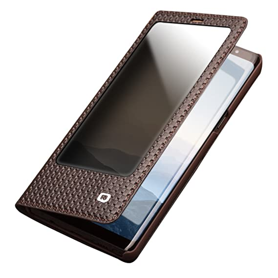 pretty nice 83a17 a1e61 Note 8 Case, QIALINO Genuine Leather Protective Note8 Cover for Samsung  Galaxy Note 8, Brown