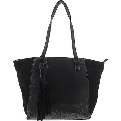 6f4a6026bb Moda Luxe Womens Casey Faux Leather Suede Trim Tote Handbag Black Large   Handbags  Amazon.com
