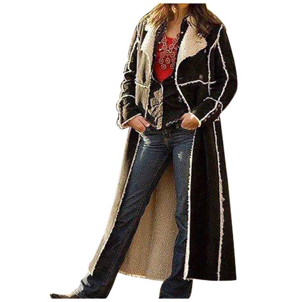 Yanvan Women Winter Fashion Long Cardigan Black Warm Coat Long Sleeve Windbreaker by Yanvan