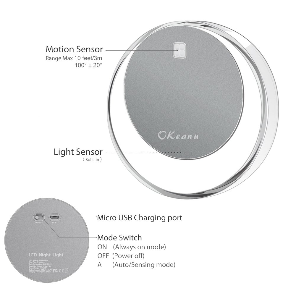 Motion Sensor Cabinet Led Light, Okeanu 3 Modes 14 LED Rechargeable Motion Sensor LED Night Light with USB Cable Auto On/Off, Cordless Wall Lights, Step Lights for Closet, Stairs, Bedroom (Yellow)