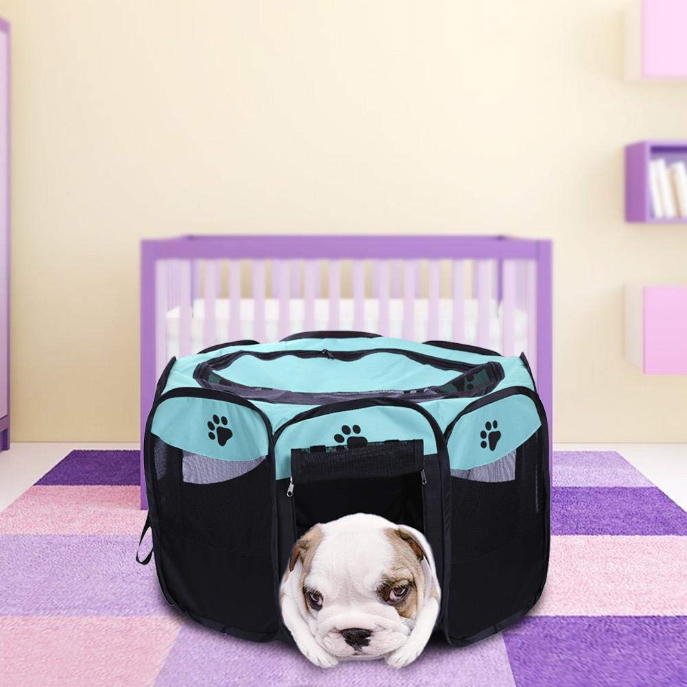 Bue Portable Folding Dog Tent House Cage Puppy Pet Outdoor Kennel Fence (bluee) snowvirtuosau