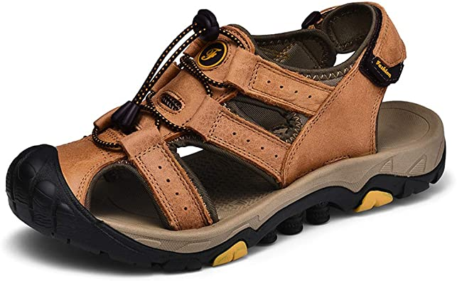 Mens Hiking Climing Leather Sandals Closed Toe Fisherman Beach Summer Shoes Size