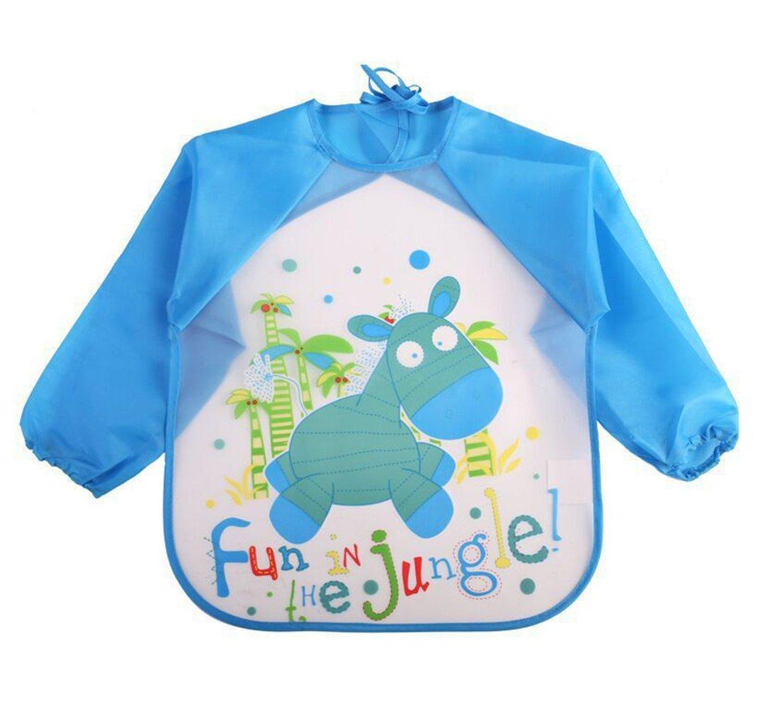 Echodo 4 Packs Waterproof Childrens Art Smock Kids Painting Aprons Long Sleeve Baby Smock for Eating 1-4 Years