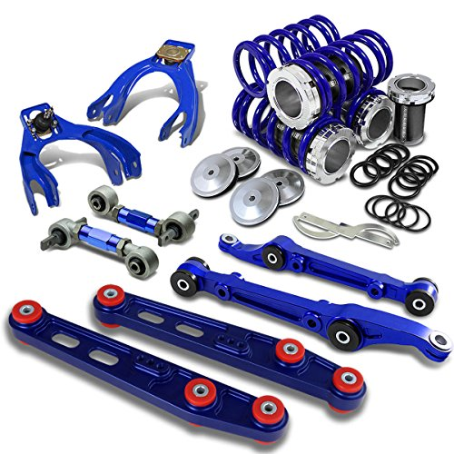 (For Civic/Del Sol/Integra Coilover+Camber Arm Kit+Lower Control Bar Set (BlUE) - EG EH DC)