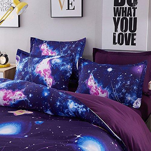 Duvet Cover Set, Star Cosmic Galaxy dark blue, Soft Microfiber Bedding with Zipper Closure(4pcs, King Size) by Cloud Dream (Image #1)