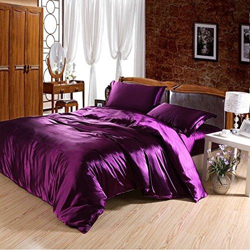 Newrara Imitation Silk Bed Set Bedding Set Bed Linen Silk Bedclothes Silk Flat Sheet Set Purple Solid Color 4pcs (queen)