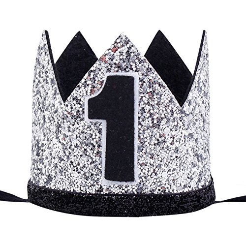 Maticr Glitter Baby Boy Girl First Birthday Crown Number 1 Headband Little Prince Princess Cake Smash Photo Prop (Tiny Silver & Black 1) -