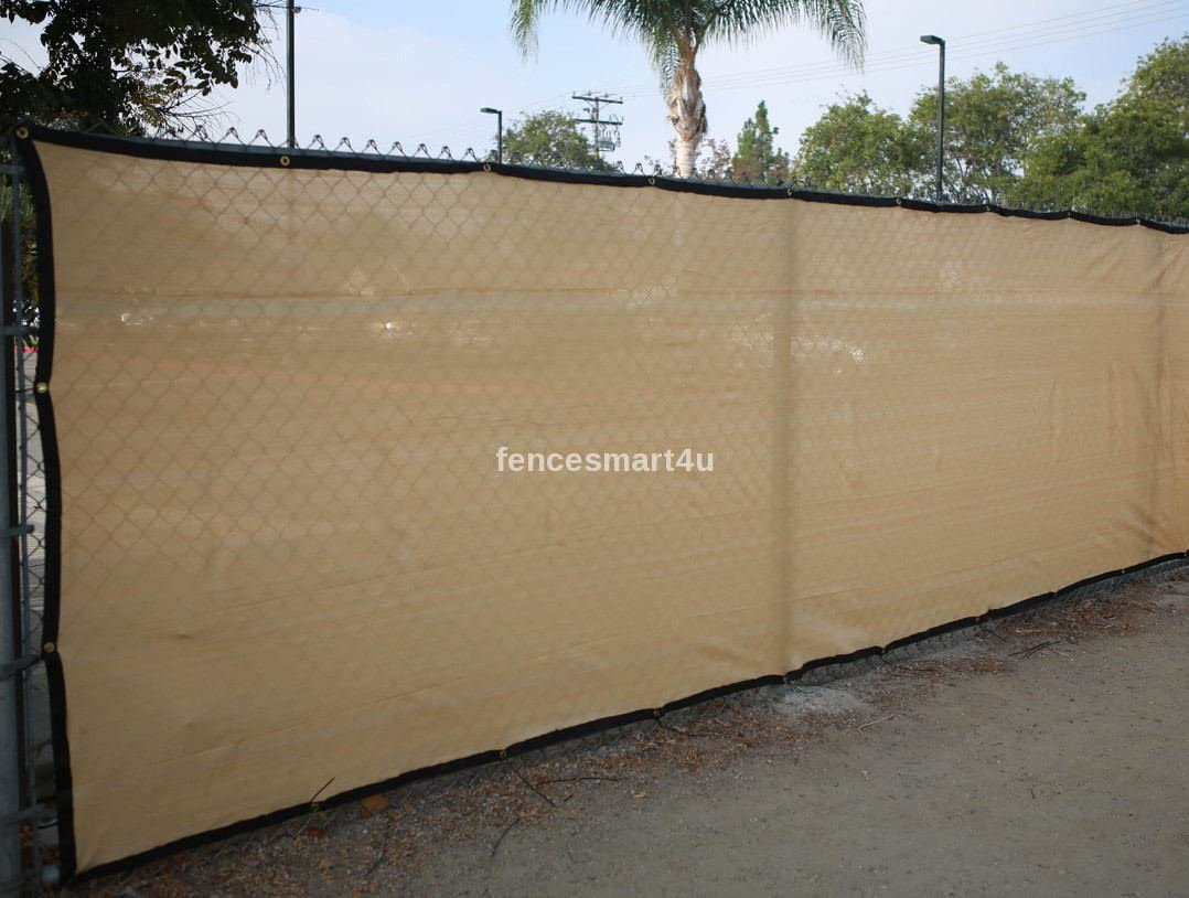 6/' X 50/' Tan Beige UV Rated 85/% Blockage Fence Privacy Screen Windscreen Shade Cover Fabric Mesh Tarp W//Grommets 145gsm