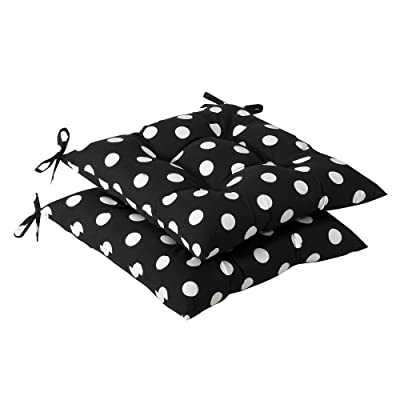 Pillow Perfect Indoor/Outdoor Polka Dot Tufted Seat Cushion, Black/White: Home & Kitchen