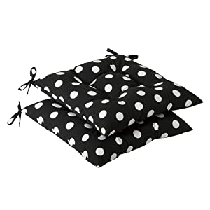 Pillow Perfect Indoor/Outdoor Polka Dot Tufted Seat Cushion, Black/White