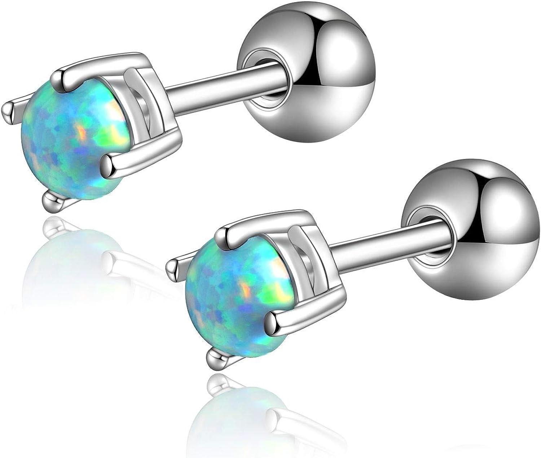 Candyfancy Opal Cartilage Earrings Stud 316L Surgical Steel Piercing Barbell Earrings Stone 3-6mm
