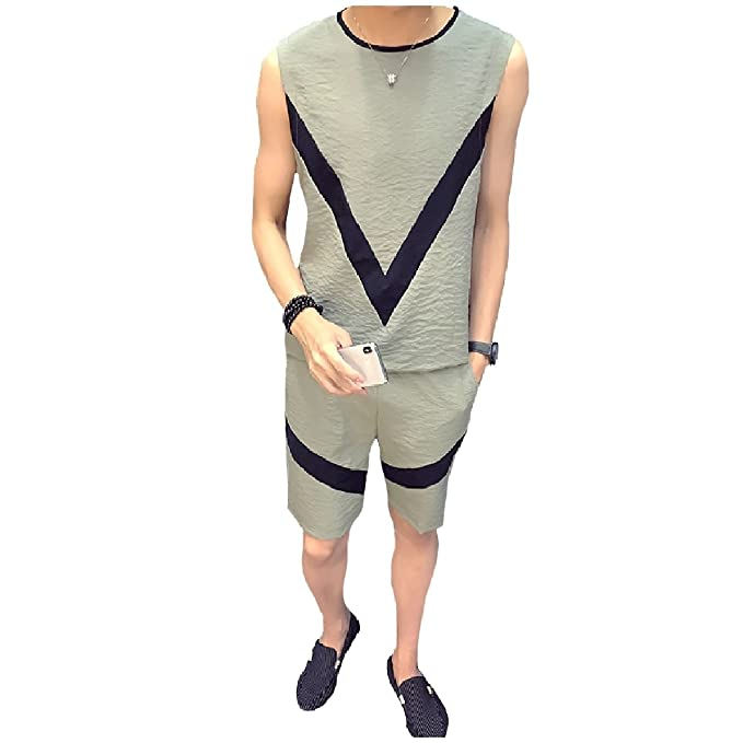 8b5ab48ea3 Comaba Men Splice Plus Size Sleeveless Shorts Comfort Tracksuit ...