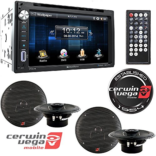 Cerwin Vega Stereo Speakers (Soundstream Double DIN Multimedia Source Unit with 6.5″ LCD Touch Screen/Bluetooth+ CERWIN VEGA XED 6.5-Inch 300 Watts Max 2-Way Coaxial Speaker Set)