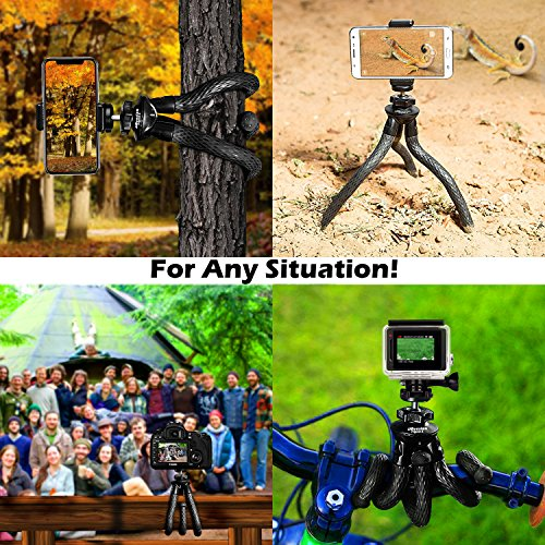 Flexible Camera Tripod, UBeesize 12 inch Mini Tripod Stand GoPro/Action Cam/DSLR Canon Nikon Sony, Smartphone Tripod Stand Cell Phone Holder, Compatible iPhone/Android (3 in 1) - Waterproof by UBeesize (Image #4)