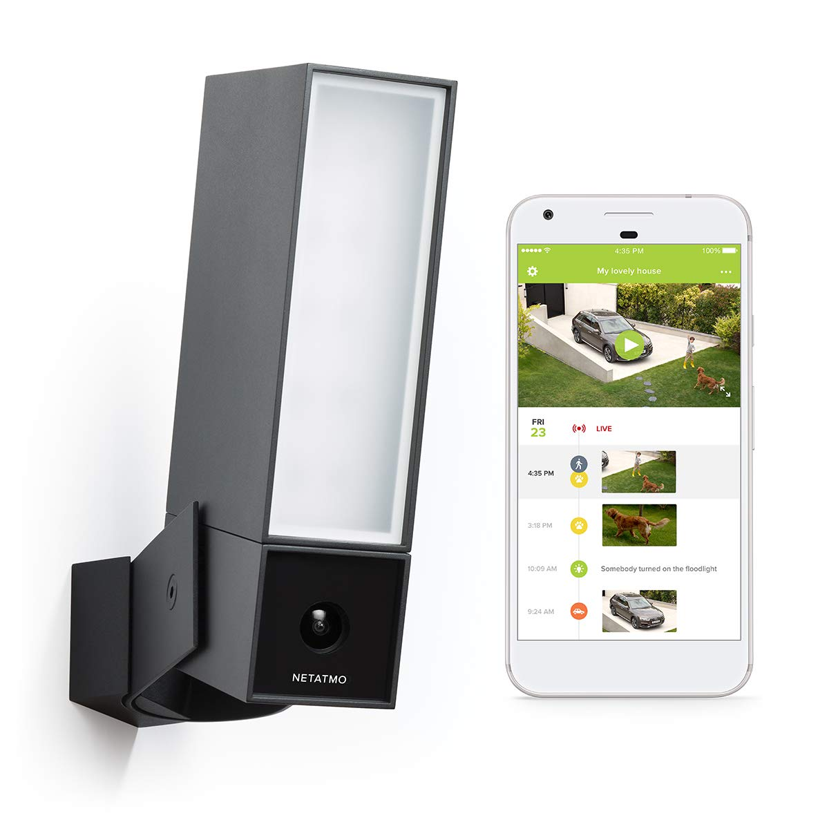 Smart Outdoor Security Camera with Integrated floodlight - Netatmo Presence by Netatmo