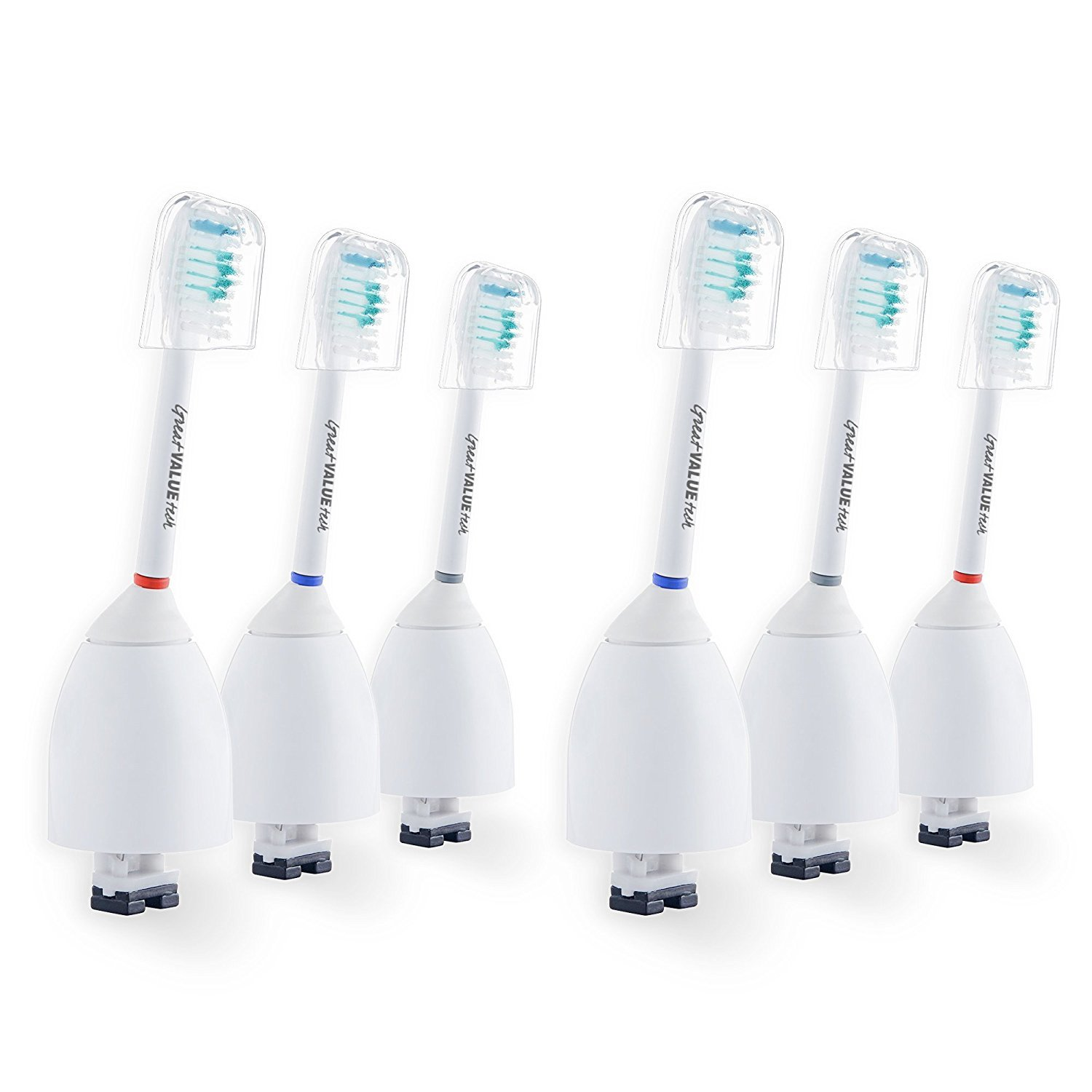 6x Sonic Replacement Toothbrush Brush Heads for Philips Sonicare E-Series fits Elite, Essence, Advance, CleanCare, Xtreme, eSeries, HX7022, HX7023, HX7026 by Great Value Tech