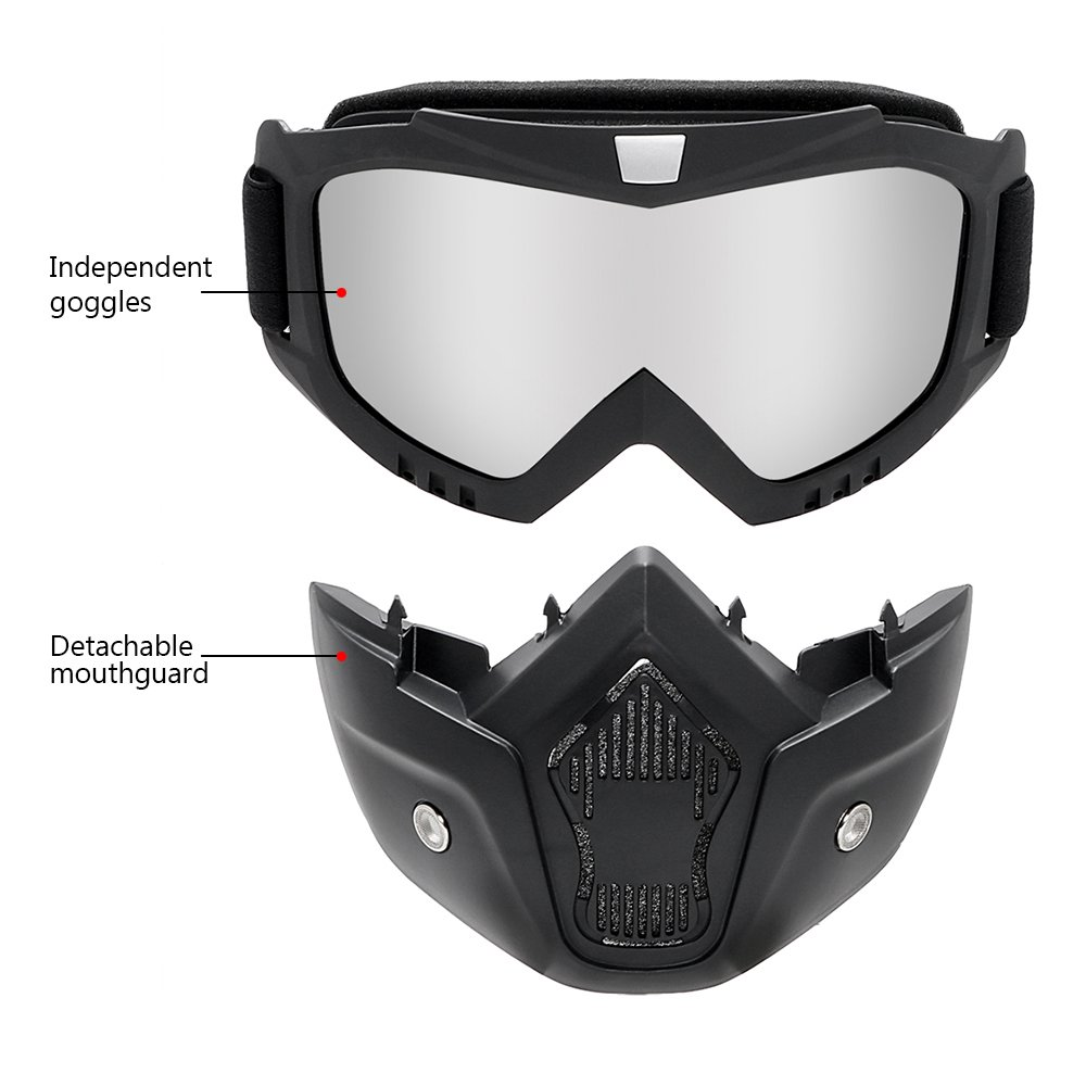 Vintage Ski Bike Motorcycle Glasses Colorful Motocross Goggles for Halley Open Face Helmet Mask iTimo Detachable Goggle